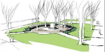 Artist rendering of Charles Eliot Memorial and surrounding parkland.